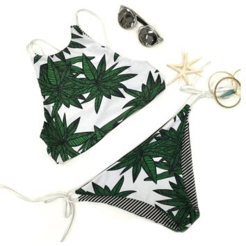 Fashion Women's Leaves Printing Halter Two-piece Bikini Set