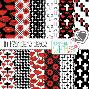 "Poppy Digital Paper - ""In Flanders Fields"" - Remembrance Day scrapbook paper - poppy and cross seamless patterns in red white & black -CU OK"