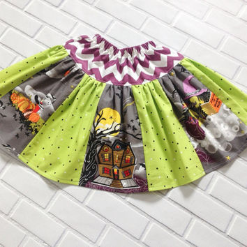 Halloween Witch Skirt Purple Chevron 4T Ready To Ship Boutique Clothing By Lucky Lizzy's