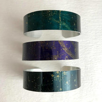 Celestial Star Map Cuff Bracelet, wide adjust green purple constellation night sky bangle zodiac adventure sublimation gift for her woman