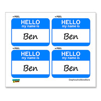 Ben Hello My Name Is - Sheet of 4 Stickers