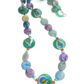 Blue, Green and Purple Peacock Beaded Necklace