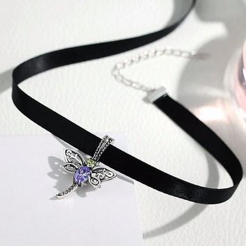 Sterling Silver & Black Braid Choker Necklace With Dragonfly Charm Pendant