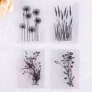 1Pc Natural Plant Pattern Mini DIY Transparent Rubber Stamp Seal Paper Craft Scrapbooking Decoration #230661