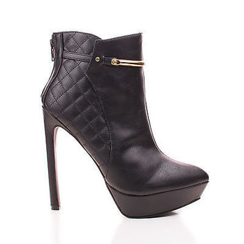 Lavania20 Black Pu By Wild Diva, Pointy Toe Quilted Platform Stiletto Heel Ankle Bootie