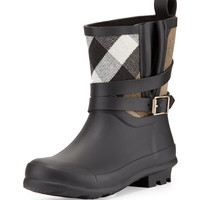 Holloway Mini Check Rubber Rainboot, Black, Youth - Burberry