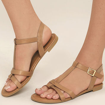 Nia Tan Flat Sandals
