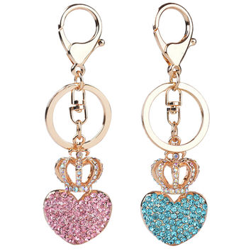 Gold Plated Beautiful Car Keyring Crystal Crown Heart Lovers Keychain SM6