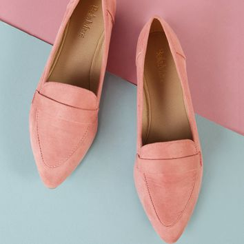 Faux Suede Pointy Toe Flat | MakeMeChic.COM
