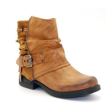 Leather Velvet Round Toe Buckled Western Boots