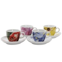 Loveramics Flowertime Espresso Cup and Saucer, Set of 4