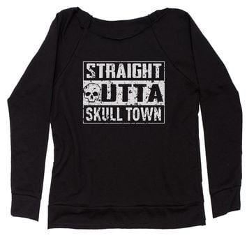 Straight Outta Skull Town Slouchy Off Shoulder Oversized Sweatshirt