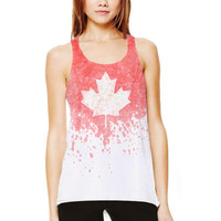 "Maple Leaf - ""Splash Dyed"" Hand PAINTED Canadian Flag Scoop Neck Racerback Tank Top in Red and White - Women's XS S M L"