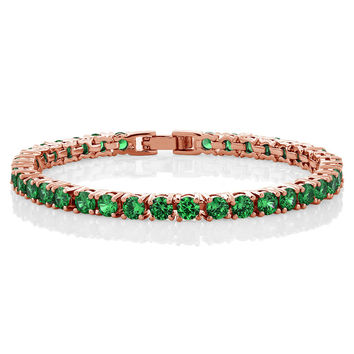 10.00 Ct Round Green Color CZ Rose Gold Plated Tennis Bracelet 7""