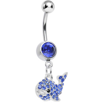 Blue Gem Tail of the Whale Dangle Belly Ring
