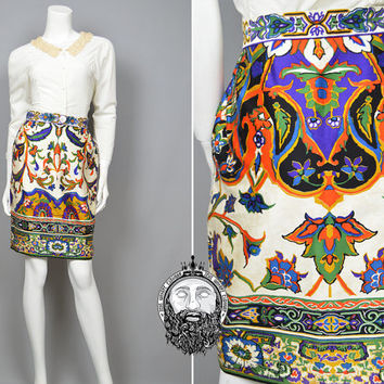 Vintage 60s CHRISTIAN DIOR Numbered High Waist Boho Mini Pencil Skirt Baroque Print Couture French Designer 1960s Cotton Sateen Art Nouveau