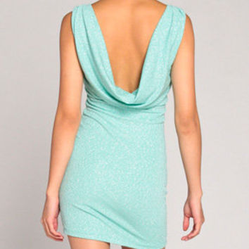 Sparkle Drape Dress in Sea Green