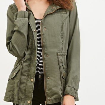 Hooded Drawstring Utility Jacket