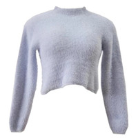 Fuzzy Turtleneck Crop Sweater