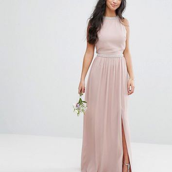 TFNC Petite Wedding Embellished Maxi Dress With Jewel Strappy Back at asos.com