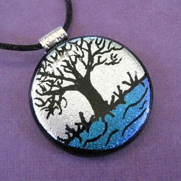Dichroic Glass Pendant Tree Series Silver Maple by mysassyglass
