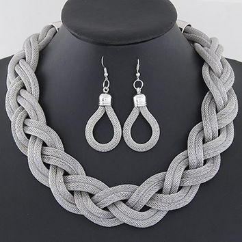 Silver Alloy Rope Designed Necklace and Earrings