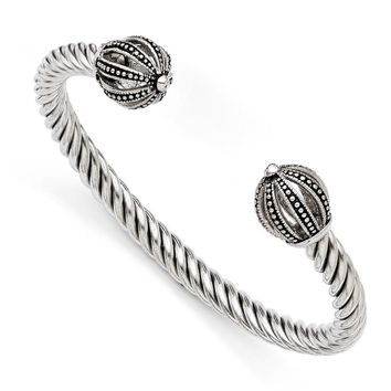Stainless Steel Antiqued Twisted Cuff Bracelet