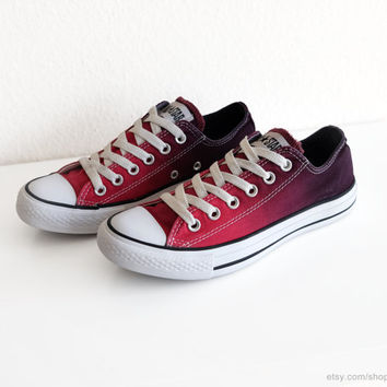 Vintage Converse All Stars transformed with a red ombre dip dye, red to dark red, low tops, sneakers, size 37.5 (UK 5, US wo's 7, US mens 5)