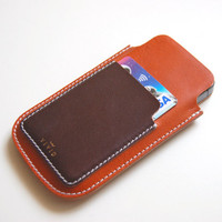 Leather Wallet Case / Sleeve for iPhone 5 / 5s  Italian tanned leather with side pocket