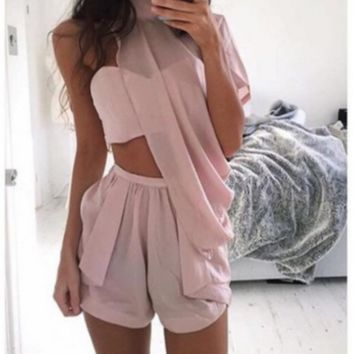 FASHION PINK CUTE OFF SHOULDER TWO PIECE SUIT