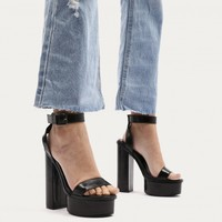 Valencia Metallic Platform Heels With Trim in Black