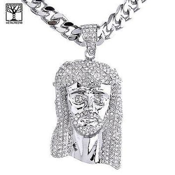 "Jewelry Kay style Silver Plated Iced Out Jesus Pendant 30"" Heavy Cuban Chain Necklace HC 6002 S"