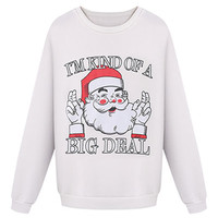 Beige Santa Claus And Letter Print Fleece Lining Sweatshirt
