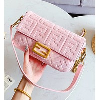 FENDI Fashion Women Shopping Velvet Leather Multicolor Handbag Satchel Crossbody Shoulder Bag