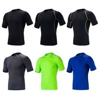 Mens Compression T- Shirts Tights Short Sleeve Quick Dry Clothing Exercise Workout Fitness Sportswear Tops Long Pants