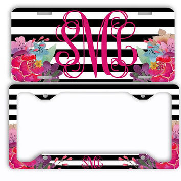 Black Stripes Watercolor Flowers License Plate Car Tag Monogram Frame Personalized Set Custom Initials Car Coasters Floral