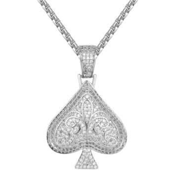 Custom 14k White Gold Tone Playing Card Spade Pendant
