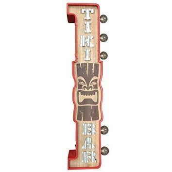 "Crystal Art E2 Concepts Off The Wall Metal LED Lighted Tiki Bar Sign, 3.9"" x 7.7"" x 29.9"""