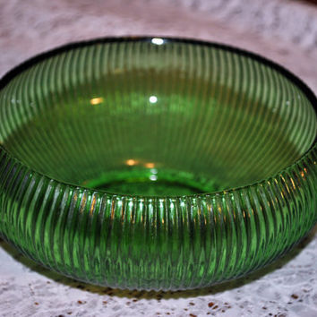 Vintage Bowl-Green-Ribbed-E.O Brody-Candy Dish-Kitchenware-Change Holder-Art Deco-Collectible