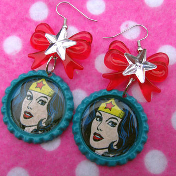 Old School Wonder Woman Bottle Cap Earrings