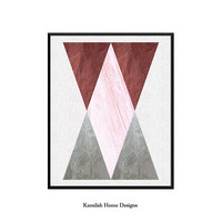 Geometric Wall Art, Gray Print, Pink Grey Decor, Modern Minimalist, Printable Art, Triangle Design, Instant Download, Mid Century Poster