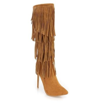 Women's Brown Faux Suede Fringe High Heel Stiletto Knee High Boots