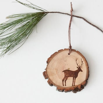 Rustic Wood Slice Ornament with Burned Deer Silhouette.  Woodland Animal Ornament.