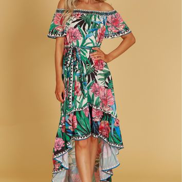 Tropical Print Hi-Lo Dress Ivory