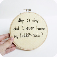 Hobbit Hoop Art black white embroidered funny home decor
