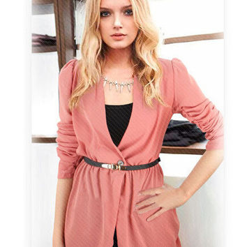 Waist Single Buttoned Long Sleeve Asymmetrical Blazer