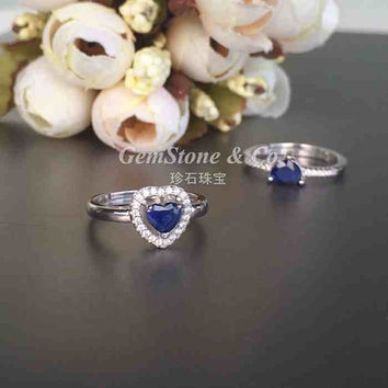 Great Deal~ Heart Shape Royal Blue Sapphire halo Silver Ring~~Natural Sapphire
