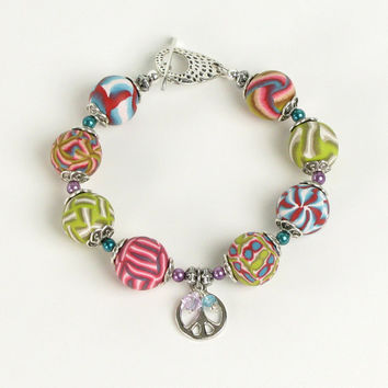 Peace Charm Bracelet - Polymer Clay Jewelry - Beaded Bracelet - Peace  Bracelet - Clay Bracelet - Art Jewelry