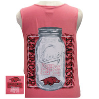 New Arkansas Razorbacks Mason Jar Perfection Girlie Bright Tank Top