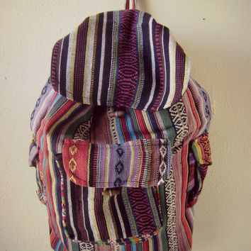 90s mexican print BACKPACK vintage grunge tote slouchy bag HIPPIE boho book bag cotton purse handbag festival backpack guatemalan ethnic bag